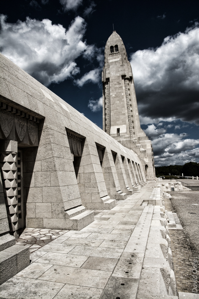 The skeletal remains of at least 130,000 unidentified combatants fill the alcoves at the lower edge of the Douaumont ossuary.
